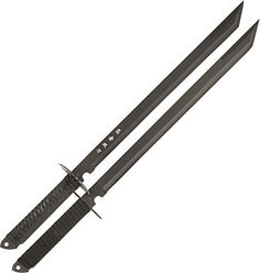 The Twin Ninja Swords feature strength and durability that will allow you to hack through almost anything. Each sword features a black stainless steel blade with a Japanese inscription on it.