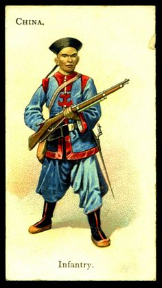 "Chinese Infantry - Wills's Cigarettes, ""Soldiers of the World"" (series of 100 issued in Native American History, American Civil War, Army History, Ancient History, Army Uniform, Military Uniforms, Chinese Armor, Boxer Rebellion, British Soldier"