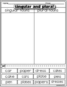 The Lesson Plan Diva: Freebies  singular/plural nouns