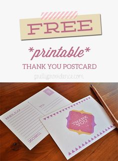Adorable Free Printable Thank You Postcards! These will definitely come in handy...
