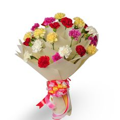 Check out our New Product  Mothers Day - Bright Fervor Flowers 20 mix color Carnations in a white paper packing  Rs.1,332