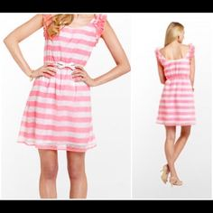 """HP Lilly Pullitzer Pink Stripe Dress Lilly Pulitzer """"Danna"""" Sparkle Pink Awning Stripe. Adorably Chic!!! Gorgeous NWT Lilly Pulitzer dress!! Pink awning stripe with sparkle accents!!! Absolutely Love!!! 10% OFF BUNDLES ❌NO PP, TRADES, HOLDS. NWT PRICE FIRM UNLESS BUNDLED.❌ PLEASE, ASK FOR BUNDLED PRICE IF YOU ARE A SERIOUS BUYER ONLY❤️ Lilly Pulitzer Dresses"""