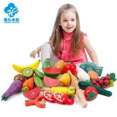 木质磁性仿真水果切切看蔬菜切切乐儿童过家家益智玩具一件代发
