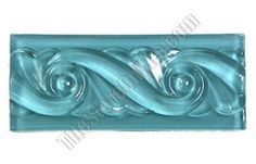 Glass Tile Liner Border - 2 1/2 X 6 Glass Wave Relief Liner Deco Border - 2.5X6 Decorative Glass Liner Border - Blue - Glossy