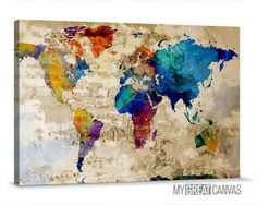 Trademark global michael tompsett urban watercolor world map retro old and colorful world map canvas prints wall art map canvas old world gumiabroncs