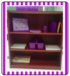 Each group has their own bookshelf with materials on it. Keeps things organized. Each shelf is color coded to match that group's color :) Perfect for the OCD teacher!