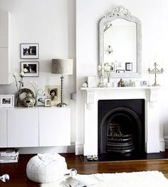 chic scandi white living room with black fireplace Living Room White, White Rooms, My Living Room, Home And Living, Living Spaces, White Walls, Interior Exterior, Interior Design, Black Fireplace