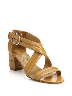 Salvatore Ferragamo Magis Block-Heeled Leather Sandals