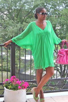 Dress-DVF Fleurette-Green  Bag-Valentino pink bow patent  Shoes-Valentino Espadrille wedge