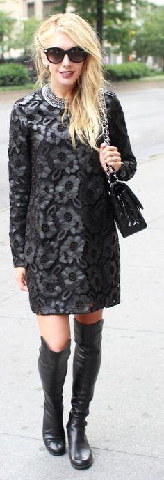 Black Monochrome Floral Coat by Bird a la mode