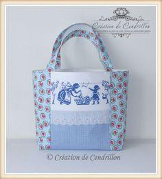 SAC CABAS brodé «Jour de lessive » Broderie Point de croix   eBay