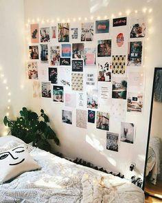 Finally finished my inspiration wall 😃✨ Uni Room, Dorm Room, Room Decor Bedroom, Diy Room Decor, Home Decor, Fairylights Bedroom, Teen Bedroom, Bedroom Ideas, Deco Studio