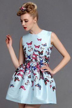 Blue Sleeveless Print Polyester Dress