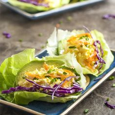 Egg salad paired with avocado and wrapped in butter lettuce leaves is a wonderfully light and gluten-free lunch or dinner.