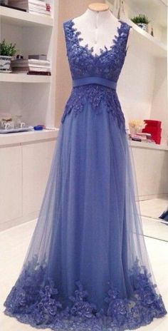 $169-2016 Lace Applique Backless Prom Dresses_A-line V neck  Formal Evening Gowns_prom dresses long_evening gowns long