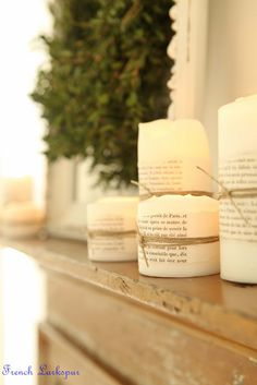 vintage French papers and twine for simple candle decorating