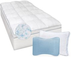 SensorGel Gel-Infused Twin Xl Memory Foam and Fiber Mattress Topper and MemoryLOFT Deluxe Gel-Infused Pillow Set Bedding