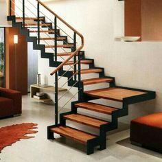 - Quarter-turn staircase / wooden frame / metal frame / wooden steps by Hangzhou Mansion Material Wood Railings For Stairs, Stair Railing Design, Staircase Railings, Metal Stairs, Staircases, Small Space Staircase, Wooden Steps, Modern Stairs, Home Decor Ideas