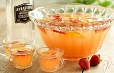 Serves 8 Ingredients 12 oz Aviation American Gin 6 oz Freshly pressed lemon juice 4 oz Freshly pressed orange juice 4 oz Organic strawberry jam syrup* 6 oz Sparkling apple cider 6 oz Soda water Instructions In a large mixing bowl, add spirits & mixers (through strawberry jam syrup). Cover and cool. When ready to serve, add sparkling apple cider, soda water, ice and stir. Garnish with sliced strawberries and orange wheels. *To make organic strawberry jam syrup; combine 2 oz jam with 2 oz…