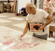 James Rosenquist working on a large-scale lithograph, early 70s. University of South Florida.