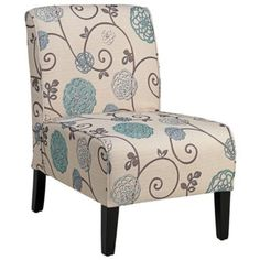 Olson Blue and Taupe Floral Armless Accent Chair, lampsplus.com