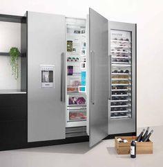 66 Ideal fridge with narrow ice maker – The World Kitchen Dinning, Kitchen Pantry, Home Decor Kitchen, Kitchen Interior, Kitchen Appliances, Luxury Kitchens, Home Kitchens, Modern Refrigerators, Kitchen Upgrades