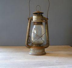Antique Lantern Lamp Vintage rusted Railroad Lamp by MeshuMaSH, via Etsy. Antique Lanterns, Antique Lamps, Lantern Lamp, Candle Lanterns, Candles, Vintage Farm, Vintage Love, Lodge Decor, Mason Jar Lamp