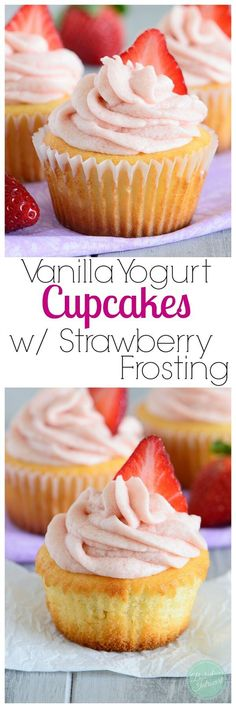 These vanilla yogurt cupcakes are made with a whole cup of yogurt. They are fluffy, moist, and perfectly light! Topped with strawberry frosting, these cupcakes would make a wonderful Valentine's treat.