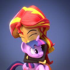 #785085 - 3d, artist:creatorofpony, blender, cute, equestria girls, holding ponies, hug, puffy cheeks, safe, shimmerbetes, sunset shimmer, twilight sparkle, upvotes galore - Derpibooru - My Little Pony: Friendship is Magic Imageboard