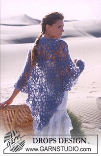 DROPS Crochet shawl in Alpaca and Vivaldi. ~ DROPS Design