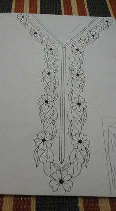 Aari Embroidery Hand Embroidery Designs Machine Embroidery Paint Designs Designs To Draw Neck Pattern Edwardian Dress Fabric Patterns Sewing Patterns Border Embroidery Designs, Floral Embroidery Patterns, Hand Embroidery Patterns, Embroidery Kits, Ribbon Embroidery, Embroidery Stitches, Machine Embroidery, Hand Embroidery Videos, Hand Work Embroidery