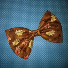 Autumn Leaves and Acorns Fabric Hair Bow by Blue by BlueKitty, $5.00