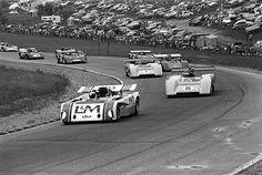 Mosport, 1971. Jackie Stewart's Lola T260 leads Denny Hulme in a McLaren. Hulme won the race.