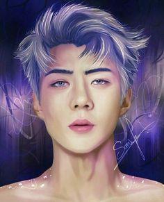 Sehun fanart on We Heart It Chanyeol Baekhyun, Exo Kai, Kris Wu, 5 Years With Exo, Exo Anime, Exo Lockscreen, Exo Fan Art, Hunhan, Kpop Exo