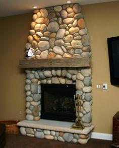 Interior Stone Fireplace by Kikr Wylie Masonry Stone Veneer Fireplace, Stone Fireplace Surround, Brick Fireplace Makeover, Home Fireplace, Fireplace Design, River Rock Fireplaces, Stone Fireplaces, Log Home Interiors, Cottage Garden Design