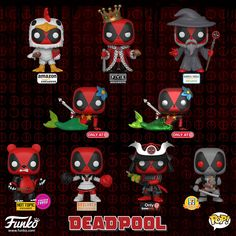 Deadpool is getting crazier this year. New funko pop vinyl Deadpool exclusives coming soon. Preorder yours now call/whatsapp 70521772 Deadpool Funko Pop, Funko Pop Marvel, Dead Pool, Funko Pop Figures, Pop Vinyl Figures, Funko Pop Dolls, Funko Pop Exclusives, Funk Pop, Pop Toys
