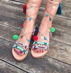 1f021fe447e Pom Pom Sandals ''Tahitian Paradise'', Tie Up Boho Sandals, Greek Leather  Sandals, FREE Worldwide SHIPPING