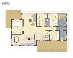 Hirsitalo Heiskala 153 - Kuusamo Hirsitalot Future House, Sweet Home, Floor Plans, Layout, Flooring, How To Plan, Case, Architecture, Interior