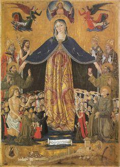 Madonna della Misericordia, Bartolomeo Caporali, 1482 tempera su tavola, Museo Civico di San Francesco , Perugia.