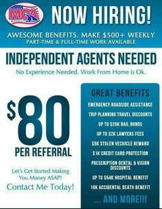 If there was a legit way to make money online would you take it? You could work from home and make $80 per referral working with MCA. If that sounds good to you, message me for more info and get started today!!! Prosperwithkiki.com