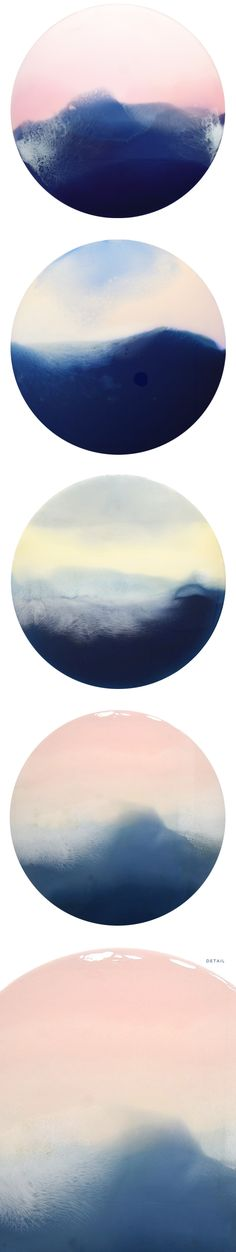 "resin on circular wood panels <3 ""horizons"" by marina dunbar"
