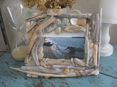 Unfinished frame--adhered Lake Erie driftwood, shells and beach glass with hot glue. Drift Wood, Lake Erie, Love Craft, Shells, Craft Ideas, Live, Awesome, Beach, Hot