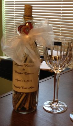 Recycled wine bottle full of cash as an unusual wedding gift.