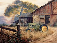 Deere Country by Michael Humphries ~ country farm tractor barn ~ gouache on watercolor board Arte Country, Country Barns, Old Barns, Country Living, Farm Paintings, Country Paintings, Landscape Art, Landscape Paintings, Floral Paintings