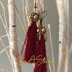 Burgundy and Gold Tassel Earrings Gold Tassel Earrings, Statement Earrings, Bridesmaid Earrings, Bridesmaid Gifts, Green Pendants, Burgundy And Gold, Beaded Brooch, Birthday Gifts For Her, Artisan Jewelry