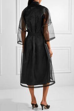 Jil Sander - Belted Silk-organza Coat - Black - FR40