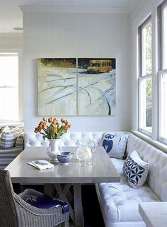 I have always loved Kitchen Banquettes they are great for creating more space and if designed right extra storage space underneath. And in our small house double use furniture is always a bonus!