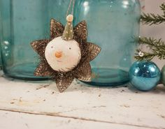 Folk Art Snowman // Christmas Ornament // Vintage Style // Cottage Christmas  // Farmhouse Decor // Prairie Style