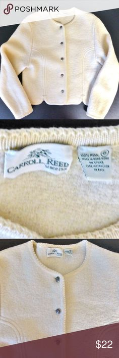 "Vintage Carroll Reed cropped wool cardigan sweater Short fitted knit cardigan sweater jacket Princess seams Color: cream 5 silver tone button closure 100% boiled wool Dry clean only 18.5"" armpit to armpit 20"" from back of neck to hem Vintage size 6 Carroll Reed Sweaters Cardigans"