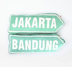 Road Sign Cushion Jakarta Bandung by Humia Living. A perfect and adorable cushion to decorate your room feature 2 cushion in road sign shaped. A set of cushion in green color and each of cushion has size dimension: 60cm x 22cm x 12cm.  http://www.zocko.com/z/JKJxy